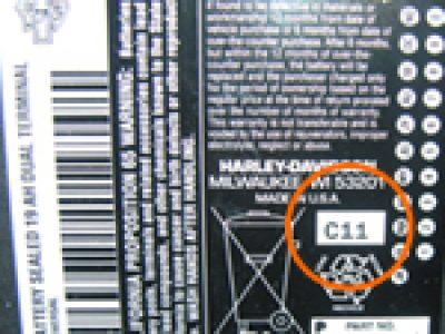 ハーレー純正バッテリーの製造年月確認方法